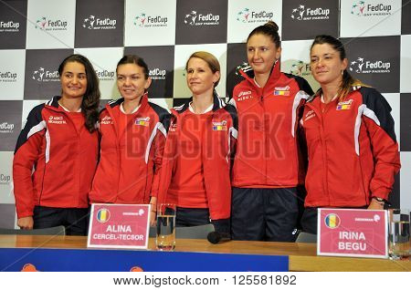 National Women Tennis Team Of Romania During A Press Conference