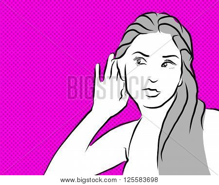 Gossip Girl listen Comic vintage clipart with pink background