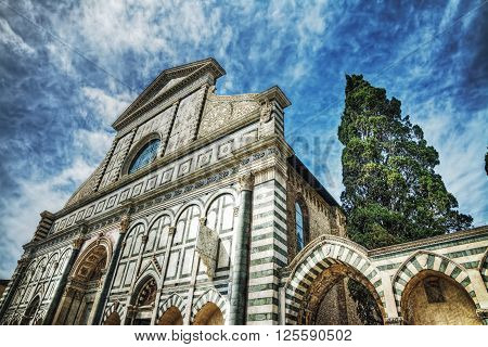 front view of Santa Maria Novella cathedral in Florence Italy