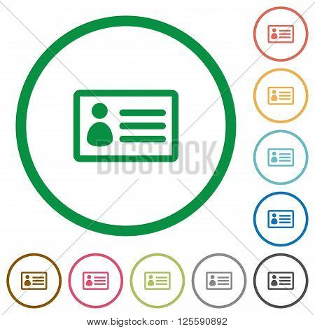 Set of ID card color round outlined flat icons on white background