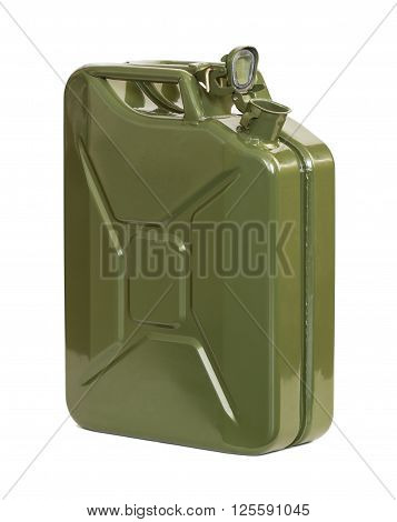 Army jerrican with open cap, isolated on white background.