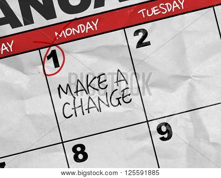 Concept image of a Calendar with the text: Make a Change