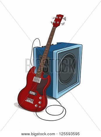 Bass rest at amplifier colored clip art illustration.