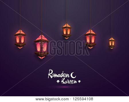 Elegant glowing traditional lanterns hanging on purple background for Holy Month of Muslim Community, Ramadan Kareem celebration.
