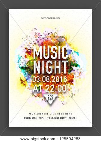 Musical Night Party Template, Dance Party Flyer, Banner or Club Invitation with colorful abstract design.