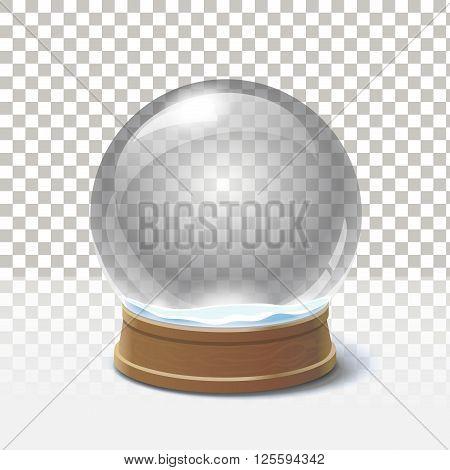 Christmas snow globe on checkered background. Magic ball vector