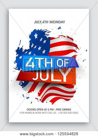 Stylish text 4th of July on American Flag design background, Creative Pamphlet, Banner or Flyer for Independence Day celebration.
