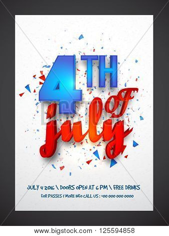 Glossy text 4th of July in blue and red colors, Creative Pamphlet, Banner or Flyer design for American Independence Day celebration.