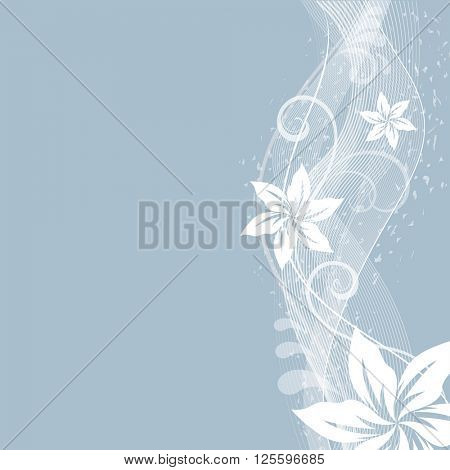 Abstract flowers side ornament  background with copy space.