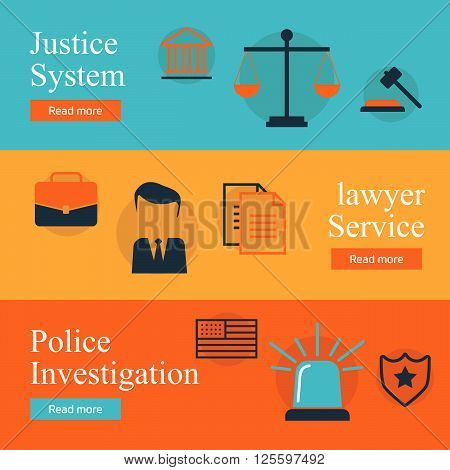 Legal services law and order justice vector flat concept set