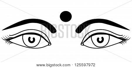 Eyes Indian girls with bindi outline isolated vector illustration for print design