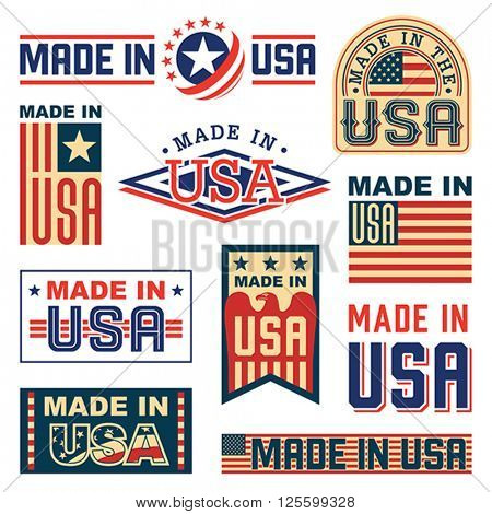 Made in America (USA) - set of different labels, badges, stamps. Isolated on white. Vector format EPS 8, CMYK.