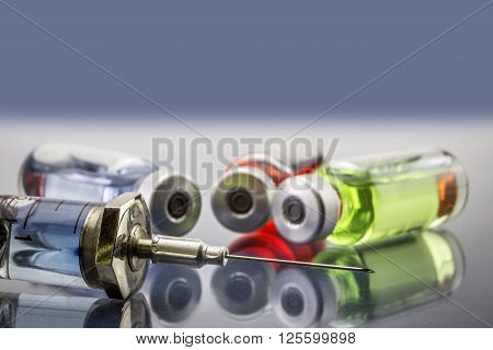 Vials Injections and Syringe Selective Focus, healthcare conceot ** Note: Soft Focus at 100%, best at smaller sizes