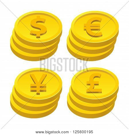 Vector stock of gold coins stacked with currencies symbol