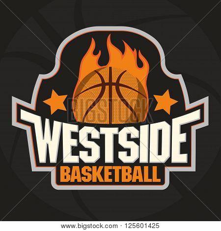 Basketball Team, Championship Emblem, Basket Ball on Fire Sport T-Shirt Graphics