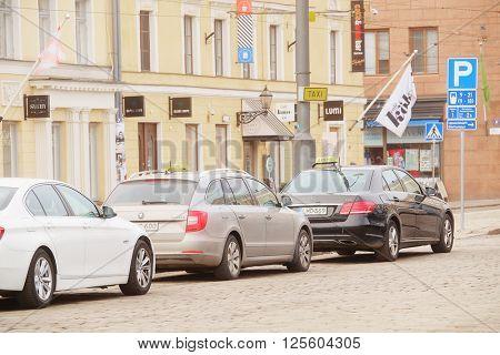 Helsinki, Finland - April, 4, 2016: the cars parkingin Helsinki, Finland
