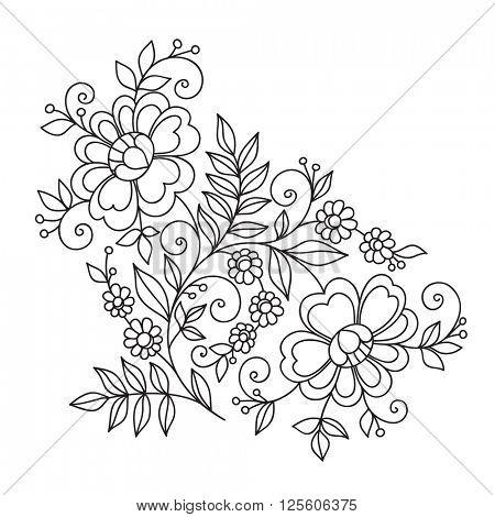 Flower design ornament element. Hand drawn.