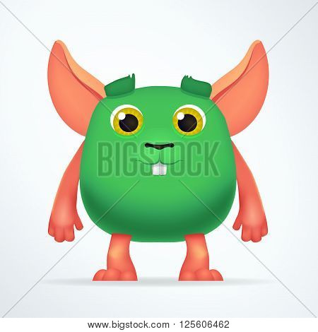 Cute green mouse mutant. Fun Fluffy fat rabbit character isolated on light background. Silly cartoon monster for kids design.