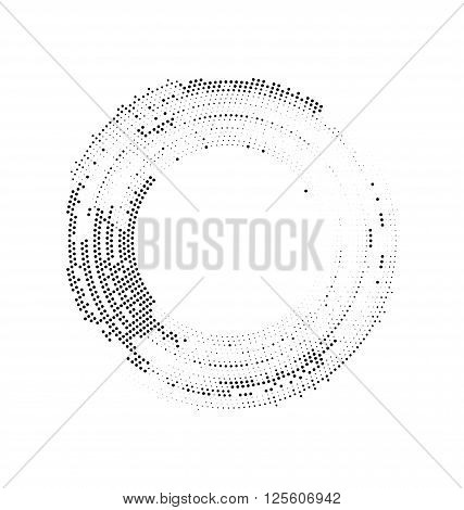 Abstract black white background border from dots path form circles - vector