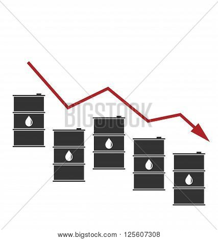 Illustration Concept of Oil Prices Down, Black Barrels and Graph Growth - Vector illustration