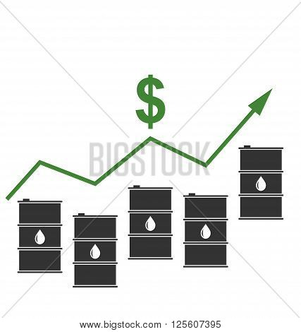 Illustration Concept of Oil Prices Up, Black Barrels and Graph Growth - Vector