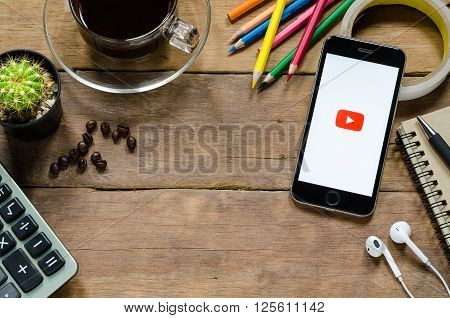 CHIANGMAI THAILAND -MARCH 312016: Youtube apps showing on iphone 6s.YouTube is the popular online video sharing website.
