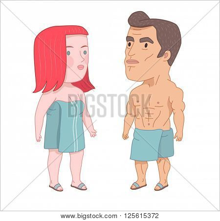 After shower, flat cartoon vector illustration, a man and a red hired woman both wrapped into the towels standing next to each other, a part of Dodo people collection