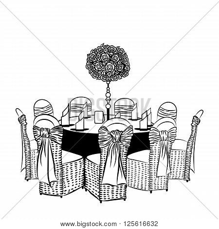 Banquet table with chairs, decorated with fabric, ribbons and flowers.