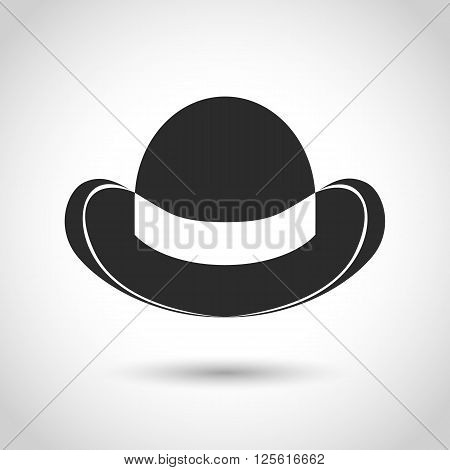 vector black icon bowler hat on a white background with shadow