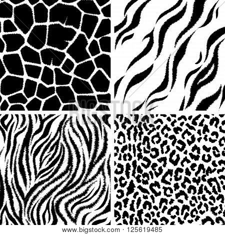 Vector seamless pattern with animal prints. Background, backdrop, print fabric.