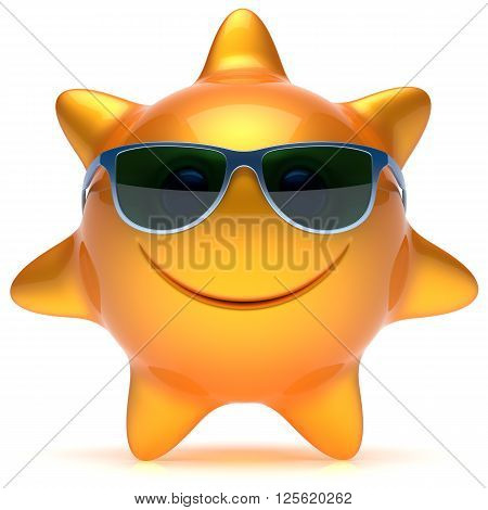 Smiley sun sunglasses star face cheerful summer smile cartoon ball emoticon happy sunny heat orange yellow person icon. Smiling laughing character holiday chilling sunbathing sunbeam avatar. 3D render