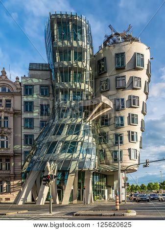 Prague Czech Republic - May 11 2014: The Dancing House Prague Czech Republic Europe. Others have nicknamed it