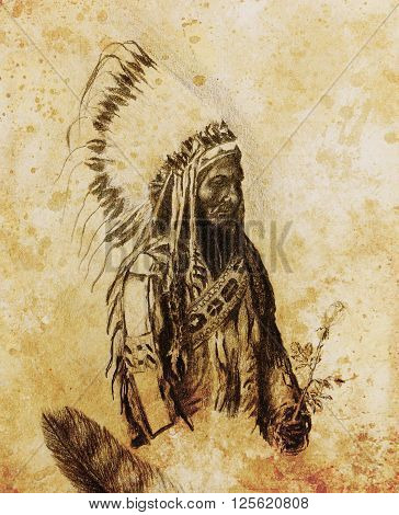 drawing of native american indian foreman Sitting Bull - Totanka Yotanka according historic photography, with beautiful feather headdress, holding rose flower