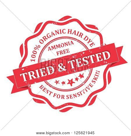 Organic Hair Dye Ammonia free. Tried and Tested red grunge label. Print colors used