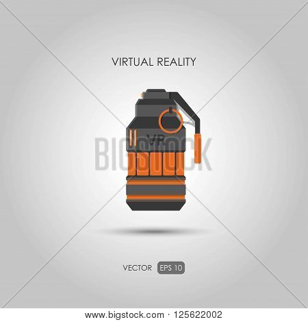 Grenade. Gun for virtual reality system. Video game weapons. Video game guns. Vector illustration