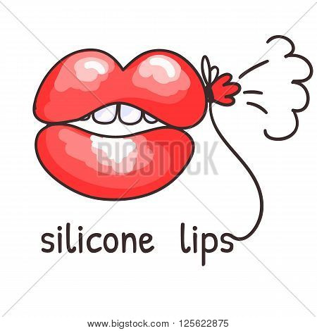 Silicone lips in the form of a balloon. Caricature. Vector illustration.