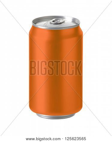 orange aluminum can with blank copy space ideal for beer lager alcohol soft drink soda lemonade cola energy drink juice water etc. Realistic photo image with clip path