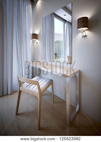 Dressing corner design, dressing area, beauty table. 3d render