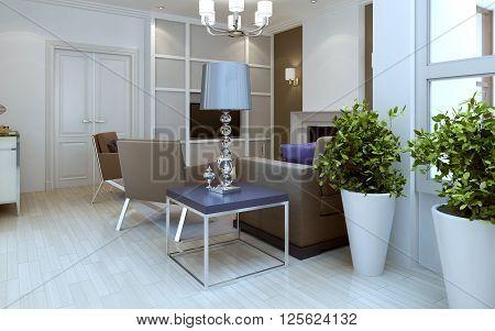 Living room in avang-garde style. 3d render poster