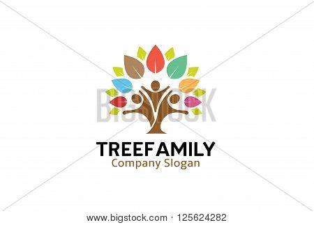 Tree Family Creative And Symbolic Logo Design Illustration