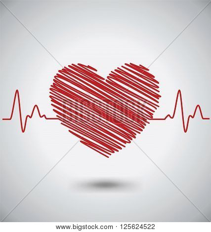 Heartbeat With Heart Shape and EKG Medical Concept