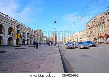 St. Petersburg, Russia - March, 13, 2016: Traffic on Nevskiy prospect in the center of St. Petersburg, Russia.