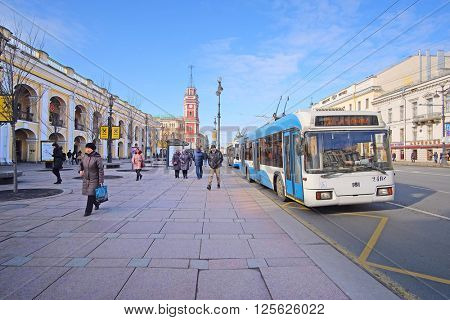 St. Petersburg, Russia - March, 13, 2016: Trolleybus stop on Nevskiy prospect in St. Petersburg, Russia.