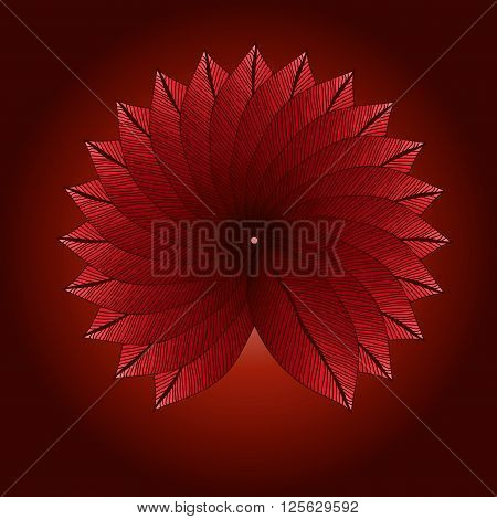 Red leaves circle. Degrade color. Foliage. Natural background.
