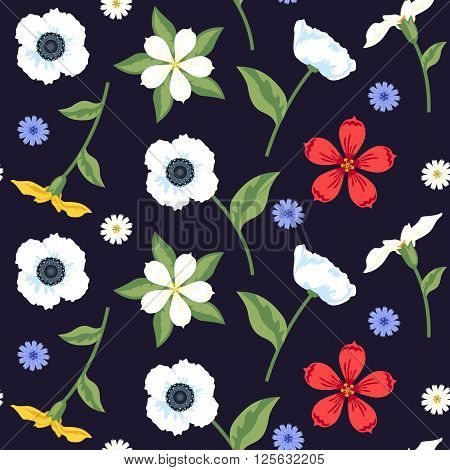 Floral Seamless Vector Pattern Design Colorful Mix