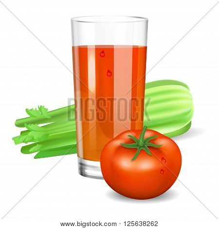 Glass with tomato and celery juice. Tomato and celery. Natural vegetable drink healthy organic food. Realistic vector illustration