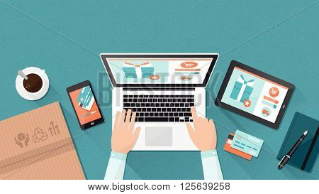Online shopping and delivery concept businessman purchasing products and making orders using a laptop