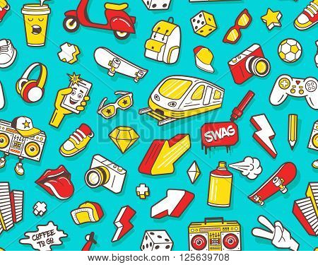 Youth culture symbols headphones, sneakers shoes, backpack and sunglasses. Urban lifestyle flat line icons boombox, paint spray, soccer ball and skateboard. Vector seamless pattern with outline icons