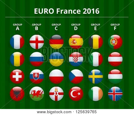 Euro 2016 in France. Flags of European countries participating to the final tournament of Euro 2016 football championship. Vector icons poster