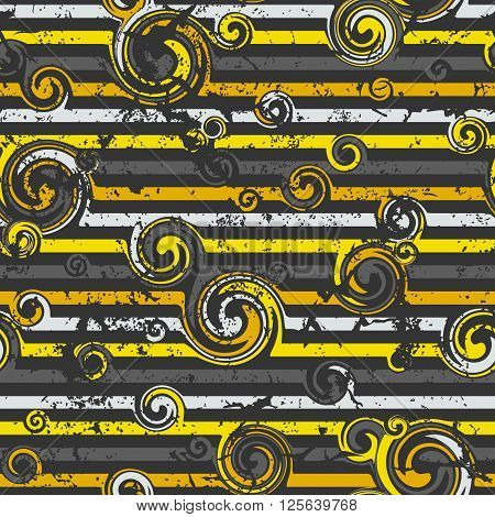 Seamless pattern with stylish spiral curls. Vector texture. Grunge.